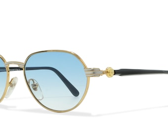 Gianni Versace G52 55L Gold , Black Vintage Sunglasses Oval For Men and Women