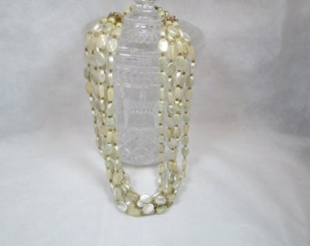 Vintage 1970s Bead Necklace Beach Style Marked Hong Kong