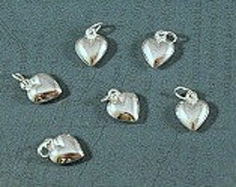Heart - Sterling Silver - Puffy Heart Charm - 8x10mm - Sold Per Piece