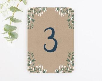 Botanical Rustic Kraft Table Number