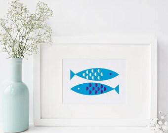 Newlyn Fish A4 Art Print Trees Nature Wall Art