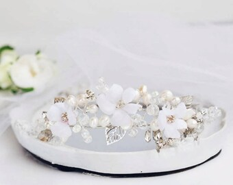 floral Bridal Tiara wedding headpiece bridal hair comb bridal hair piece flower pearl comb pearl headband Wedding hair accessories hair vine
