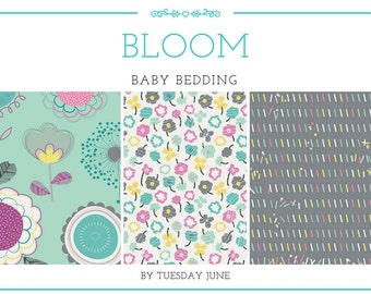 Baby Girl Crib Bedding - Teal - Crib Bedding - Floral