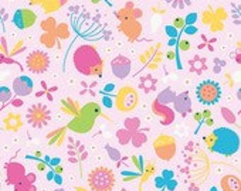 Riley Blake Designs Wildflower Meadow Wildflower Main Pink Fabric  - 1 yard