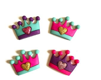 Crown Magnets, Crown Fridge Magnets, Pink, Purple, Teal Crown, Crowns with Hearts, Office Magnets, Tiara, Pushpins, Thumbtacks