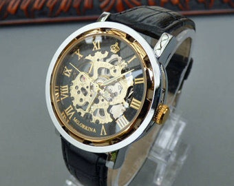 Premium Automatic Wrist Watch, Black Leather Wristband, Black and Gold Watch, Men's Watch, Engraved Watch, Gift Boxed - Item MWA 194au