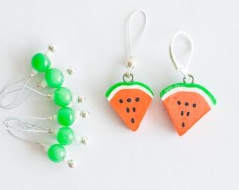 8 Green Watermelon Fruit Markers - 6+1 markers - 1 progress marker - Ready to ship