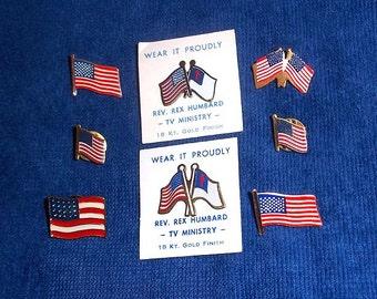 8 Vintage Flag Pins and Tie Tacks - Patriotic - Wear it Proudly