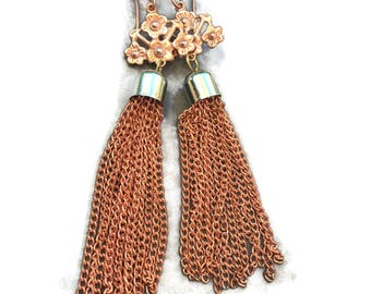 Earrings vintage copper stamping with vintage dangle copper chain earring