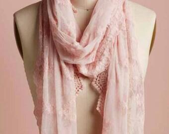 lace scarf, lace shawl, mori lace scarf, boho lace scarf, cream scarf