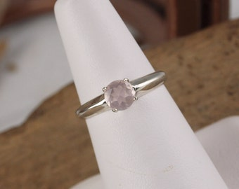 Sterling Silver Ring - Natural Rose Quartz Ring - Friendship Ring -  Promise Ring - Everyday Ring with 6mm Natural Rose Quartz Gemstone