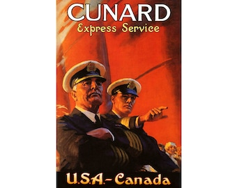 "CUNARD LINES Express-USA Canada -Retro Ship Travel Poster -available in 4 sizes up to 24""x36"" -Ocean Liner British Cruise Art Print 210"