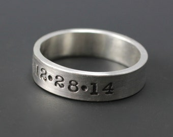 Sterling Silve Hand Stamped Date Ring