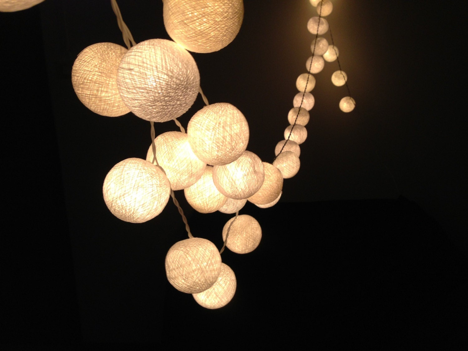 White cotton ball string lights for Patio,Wedding,Party and Decoration (20 bulbs), fairy lights