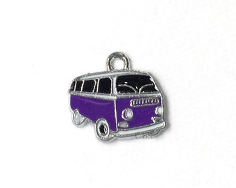 1-5 Purple Hippy Bus or Van. Enameled colored front with smooth back. Nice quality. Peace love happiness groovy baby!