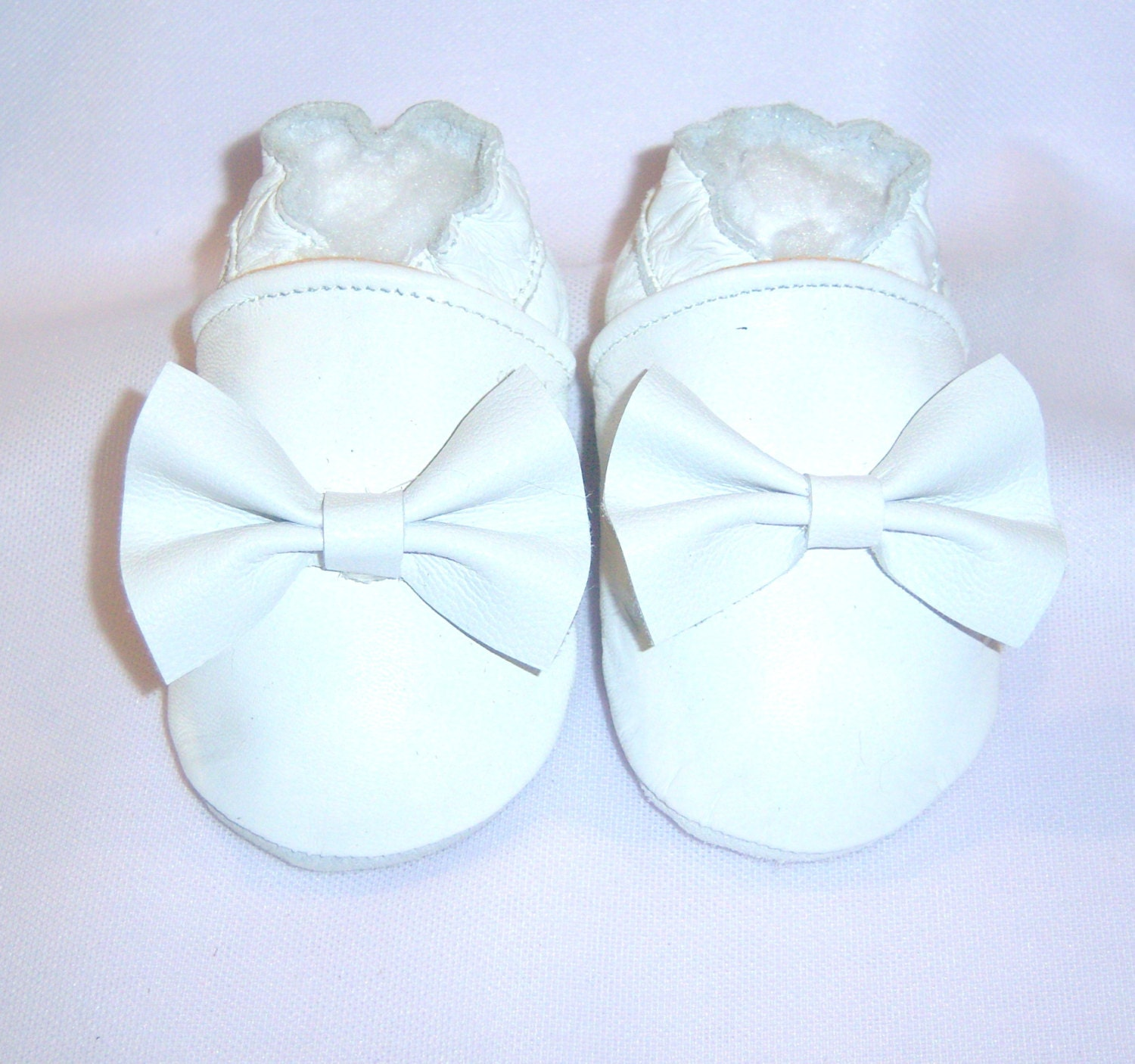 White bow moccasins baby booties infant shoes white girl baby