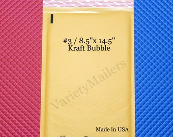 """9 Kraft Bubble Postal Mailing Envelopes #3 8.5""""x 14.5"""" Padded Self-Sealing Mailer~ Free Shipping ~ Made in the USA!"""