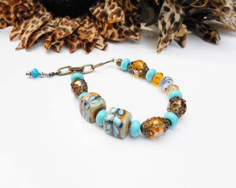 Chunky Turquoise Amber ONE OF A KIND