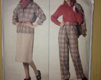 Vogue 80s Sewing Pattern 0995 Misses Jacket, Skirt, Pants and Blouse Size 8-12