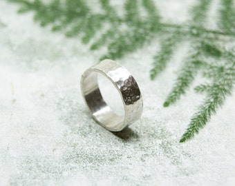 Handmade Sterling Silver Wide Band, Hammered Silver Ring, Thick Silver Ring, 5mm Wide Silver Textured Ring