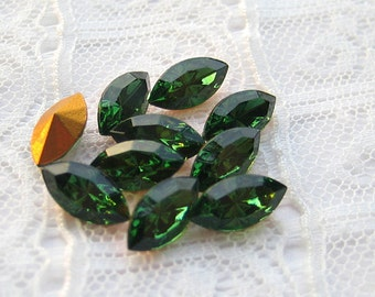 10x5 Swarovski Loose Rhinestones Green Turmaline Navette Qty 10