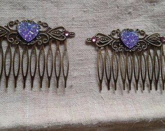 set of two Hair Combs and purple heart