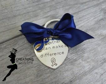 Colon Cancer Awareness Keychain | Dark Blue Awareness | Awareness Keychain | Dark Blue Keychain | Cancer Survivor | Cancer Keychain