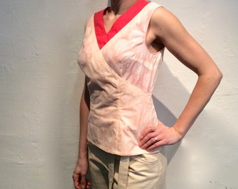 Small crossover top cotton coral and salmon