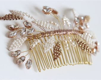 Elegant Champagne Gold Wedding Accessory, Leaves Hair Comb, Crystal Pearl Bridal Hair Accessory, Metallics Wedding Headpiece, Nina Hair Comb