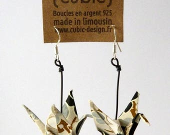 Origami crane grey Flower Earrings