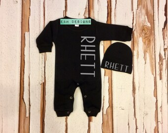 Baby Boy Coming Home Outfit, Newborn 0/3 Boy Romper, Monogrammed Baby Sleeper Set, Boy Monogram Set, Long Sleeve Sleep Set
