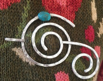 Hammered Shawl Pin Spiral with Genuine Turquoise