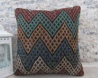 Kilim Pillow Turkish Kilim Lumbar 18x18 Bohemian Pillow Decorative Kilim Pillow Accent Pillow Throw Pillow Ottoman Pillow Kilim Rug Pillow