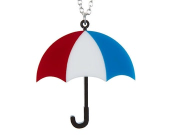 Umbrella necklace - laser cut acrylic perspex weather rain rhianna british parasol brolly