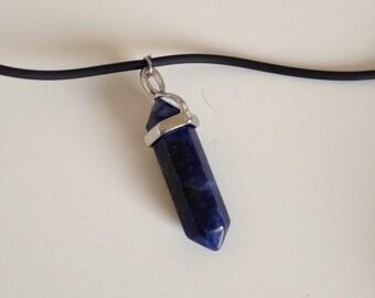 Dark blue amethyst crystal choker necklace