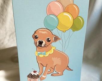 Chihuahua 'n Balloons Greeting Card