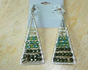 Green & Silver Ombre pierced Earrings