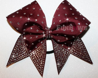 Thick Rhinestone Tails -  Allstar Cheer Bow by FunBows !