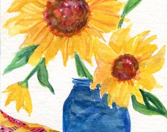 Sunflowers in vase watercolors painting - Sunflower watercolor original painting 4 x 6 flowers watercolor, small floral art, sunflower decor