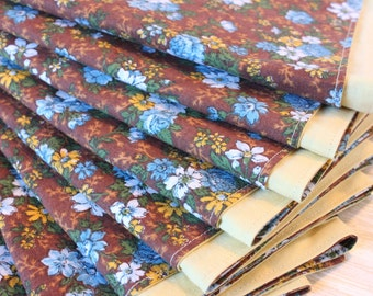 "Cloth Napkins Large 16"" Set of 8 Yellow Brown Blue Floral"