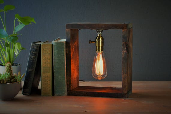 Industrial Box Lighting - Steampunk Lamp - Table Lamp - Edison Light - Vintage Light - Pipe Lamp - Bedside Lamp - Rustic Lighting