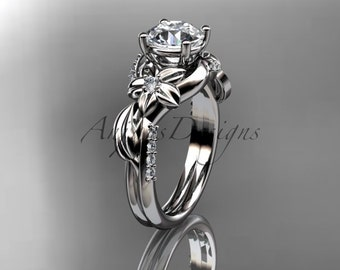 Unique 14kt  white gold diamond leaf and vine wedding ring,engagement ring ADLR224
