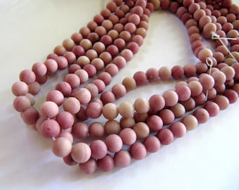 6mm Frosted Natural Rhodochrosite Beads in Matte Mauve Pink, 1 Strand, Approx 60 Beads, Dyed, Round Frosted Gemstones