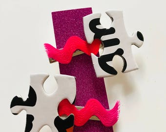 Handmade funky jigsaw puzzle hairslides