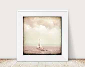 """KunstDruck """"There's a Storm coming"""" - Fotografie Foto Meer Reise Bretagne Frankreich Himmel Boot Schiff Segel Sturm Wind Wolken"""