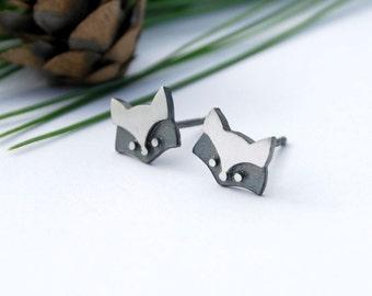Fox studs sterling silver woodland posts earrings