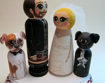 Wedding Cake Topper / Customized Wood Peg Dolls /  Couple plus 2 small pegs and a plaque / traditional ethnic wedding