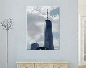 New York canvas wall art, Manhattan modern architecture, Freedom blue tower One World Trade center New York City minimalist large wall decor