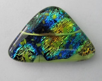 Large Free-form Triangular, Dichroic Specialty Glass, Focal Cabochon