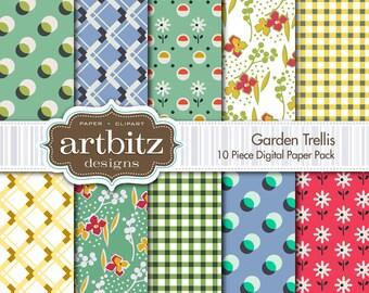 """Garden Trellis 10 Piece Digital Scrapbooking Paper Pack, 12""""x12"""", 300 dpi .jpg, Instant Download!"""